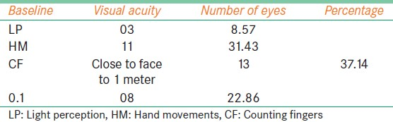 Table 2: Preoperative (baseline) visual acuity status